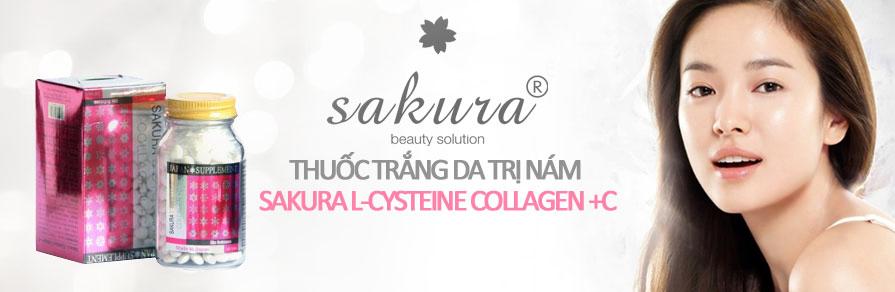 Sakura L-Cystine Collagen trị nám và tàn nhang, làm trắng da tự nhiên_chiaki.vn