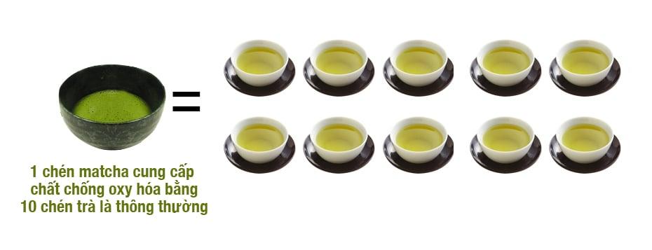 1 chén Matcha cung cấp chất chống oxy hóa bằng 10 chén trà lá thông thường_chiaki.vn