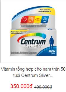 Vitamin tổng hợp cho nam trên 50 tuổi Centrum Sliver Men 50+