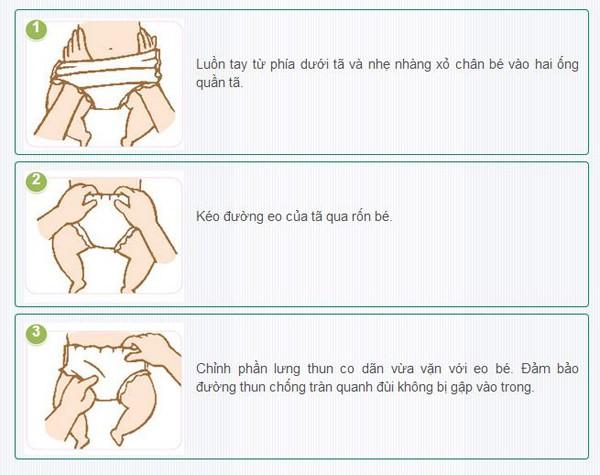 Bỉm quần Pampers sử dụng khá đơn giản, tiện lợi