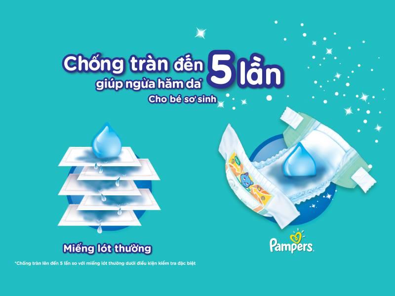 Bỉm quần Pampers có hệ thống thấm hút 4 lớp gel đặc biệt giúp bé luôn khô thoáng.