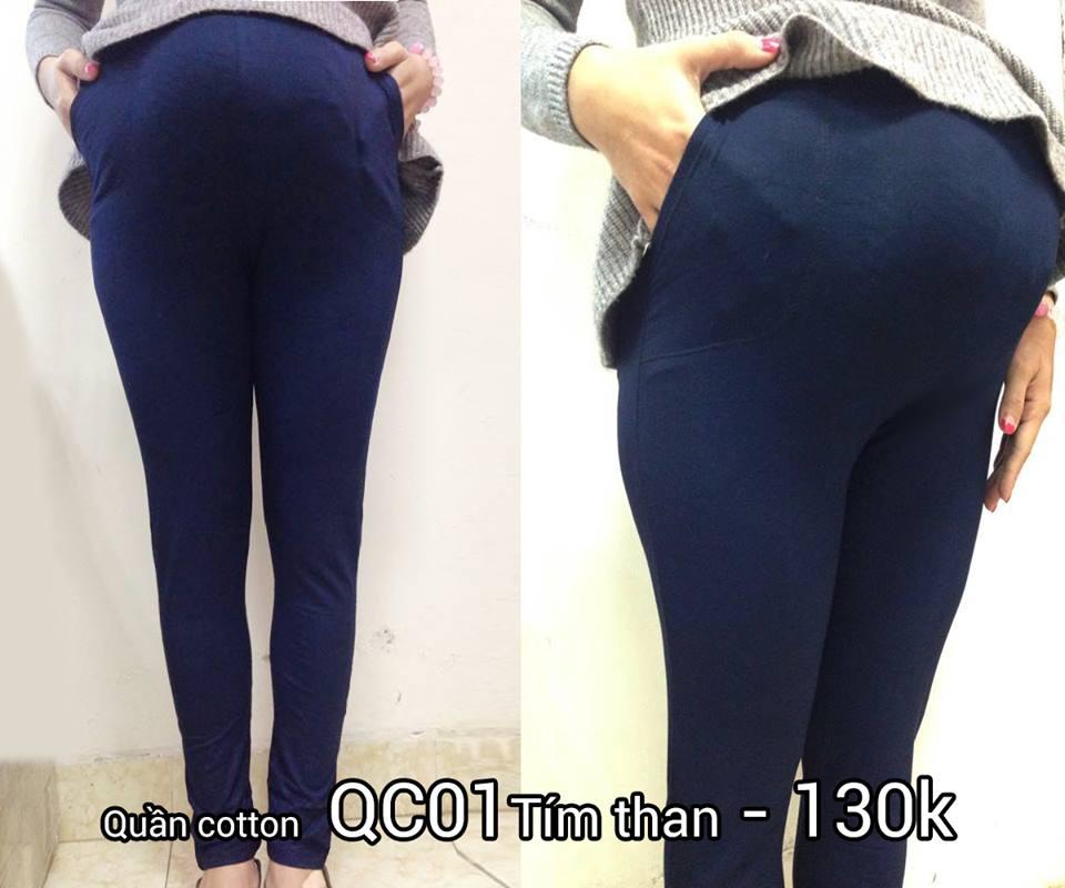 Quần bầu cotton QC01 màu tím than