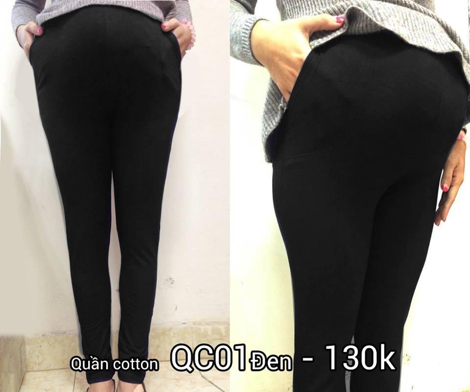 Quần bầu cotton QC01 màu đen