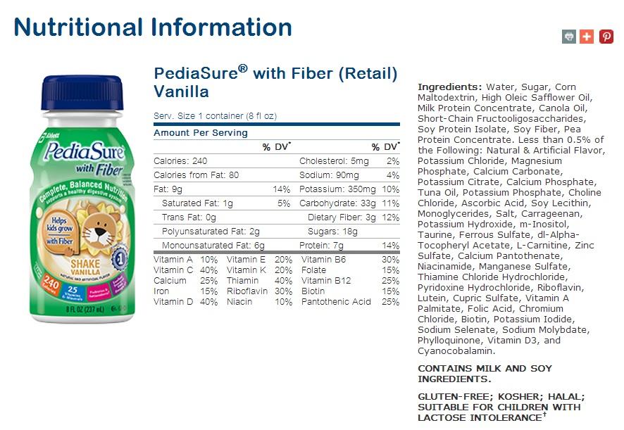 Sữa nước Pediasure dạng nước (chất xơ Vani)