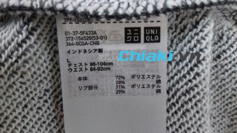 Mác chính hãng của Nhật trên mỗi bộ nỉ Uniqlo được bán tại chiaki.vn