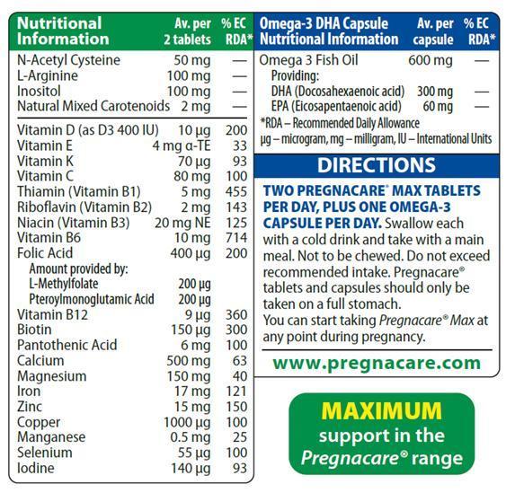 Vitamin bà bầu Pregnacare Max 84 viên (mẫu mới)