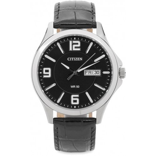 Đồng hồ đeo tay Citizen BF2000-07E với mặt số cổ điển, lịch lãm và phong cách. Dây da màu đên bóng chắc chắc, không thấm hút mồ hôi, không bết dính