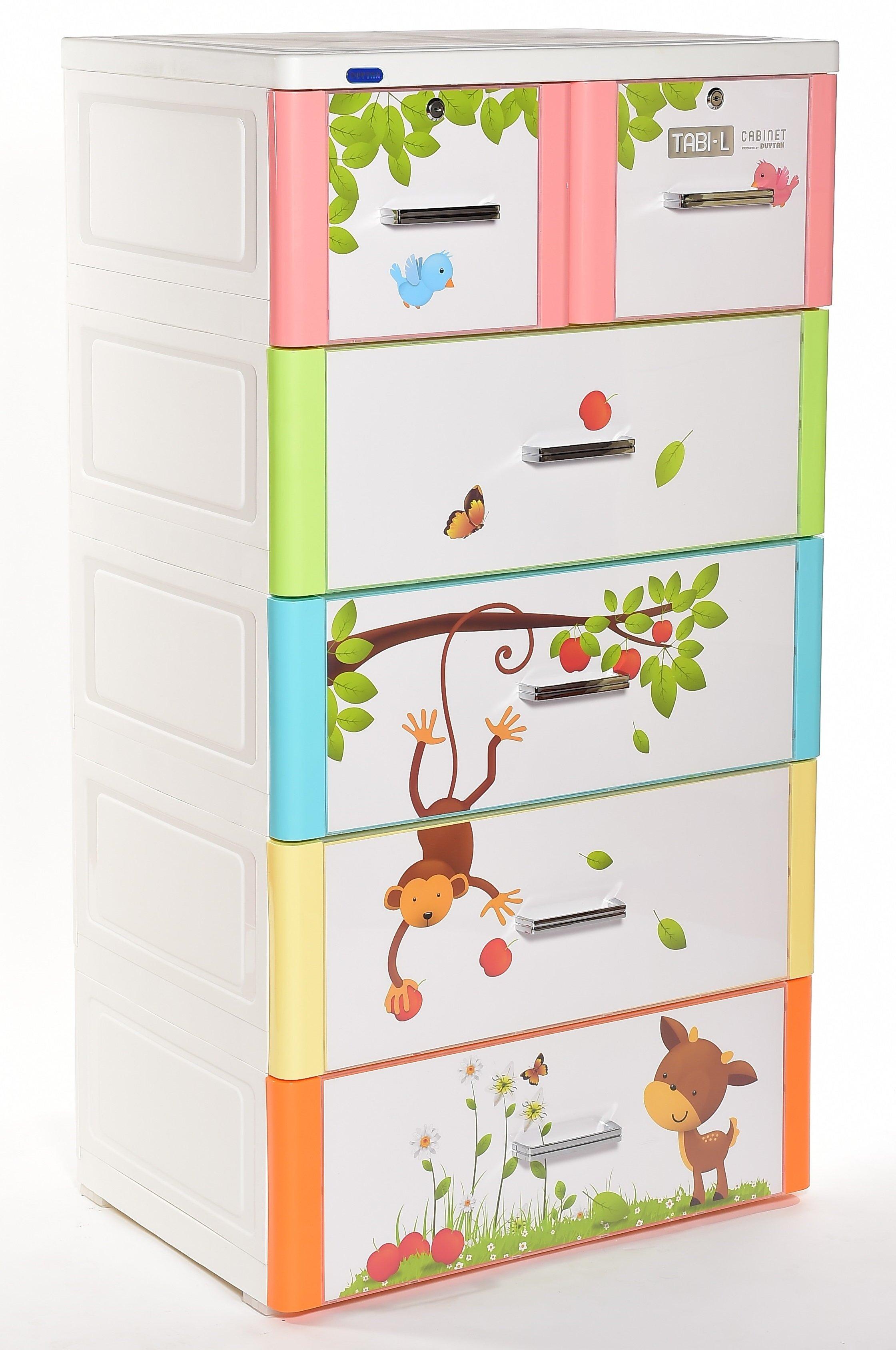 tủ nhựa duy tân 5 tầng 6 ngăn  tabi L là thiết kế nhiều ngăn, có khóa đóng mở