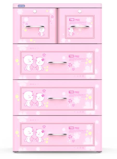 Tủ nhựa Duy Tân Tabi 4 tầng 5 ngăn màu hồng