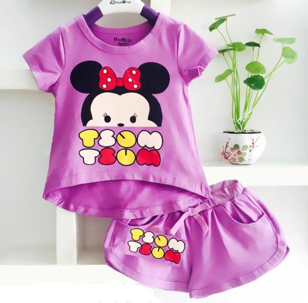 Bộ quần áo cho bé gái in hình chuột Mickey dễ thương 1