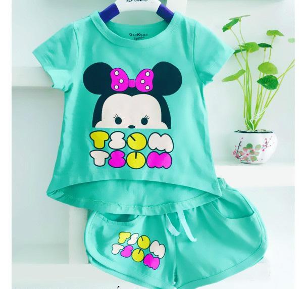 Bộ quần áo cho bé gái in hình chuột Mickey dễ thương 4