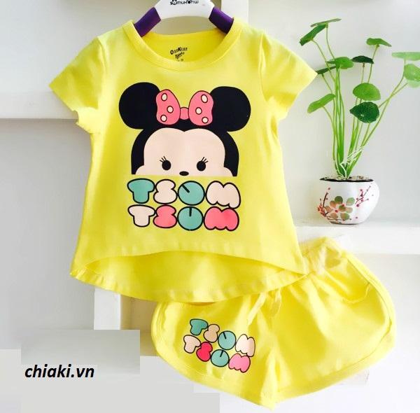 Bộ quần áo cho bé gái in hình chuột Mickey dễ thương 3
