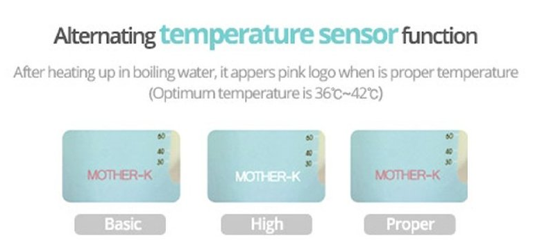 Túi trữ sữa cảm ứng nhiệt MotherK Tính năng đổi màu logo khi ở nhiệt độ khác nhau