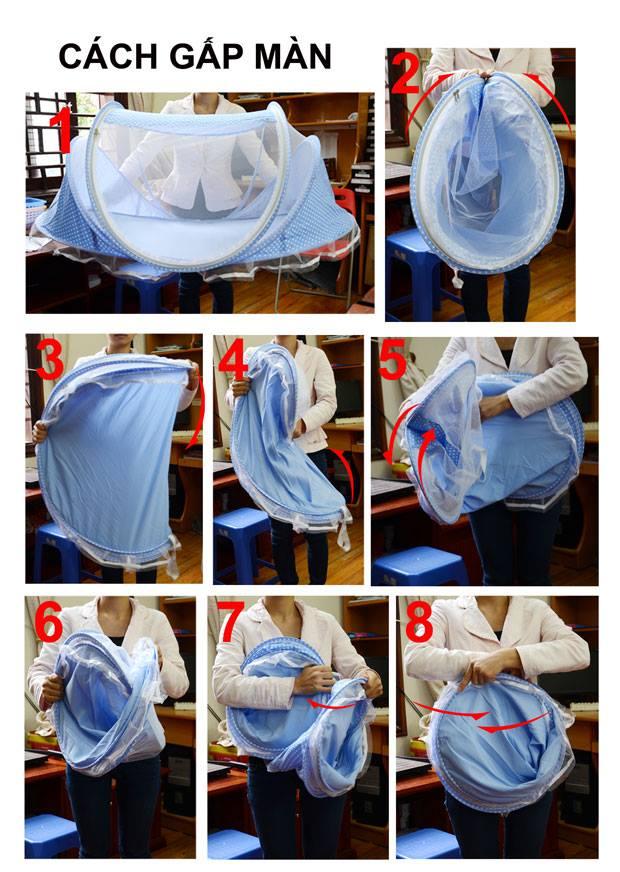 Cách gấp mùng chụp tự bung chống muỗi cho bé Happy Baby