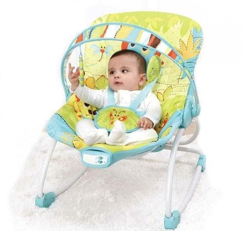 Ghế rung Mastela Rocker Animais Verde 6904 giúp mẹ dễ dàng cho bé ăn, chơi, ngủ thật thoải mái