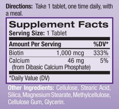 Thành phần có trong Natrol Biotin 1000 mcg