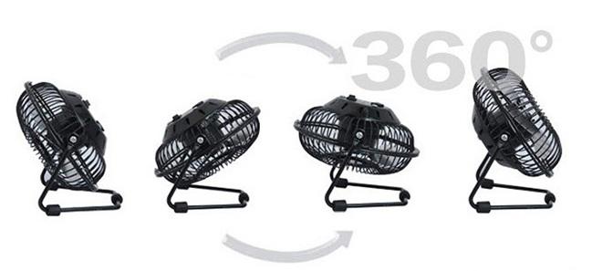 Chiếc quạt mini để bàn này có khả năng xoay 360 độ rất linh hoạt