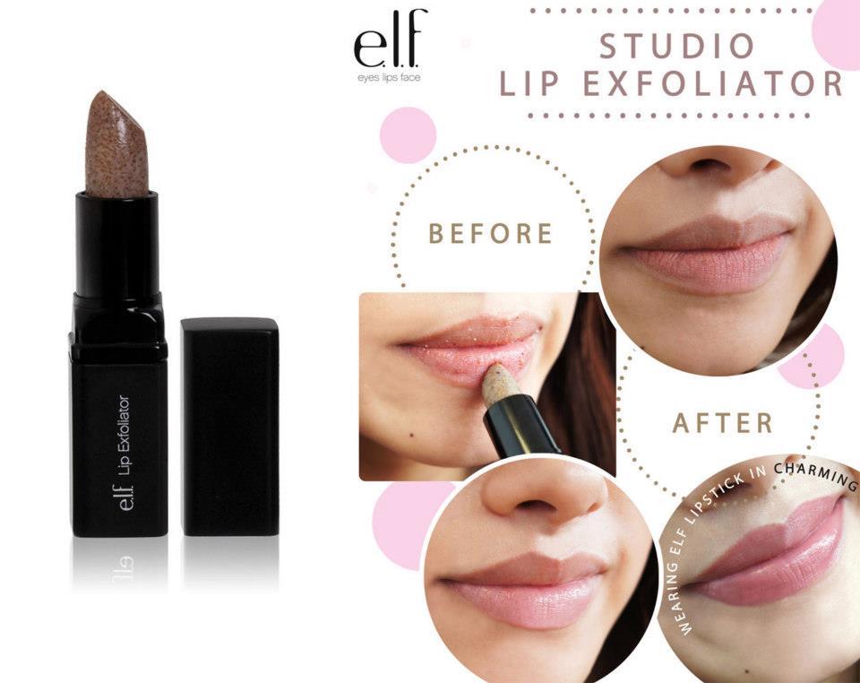 Hình ảnh trước và sau khi sử dụng tẩy da chết môi Elf