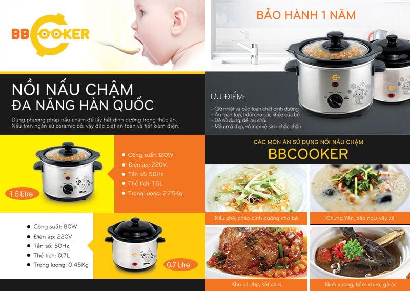 Nồi nấu cháo BBCooker 0.7L  sử dụng phương pháp nấu chậm