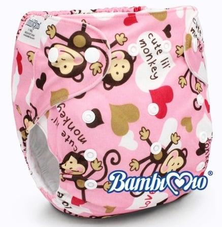 Tã vải Bambi Mio Pink Monkey SP086 ban ngày(2-4h) cho bé 3-16kg