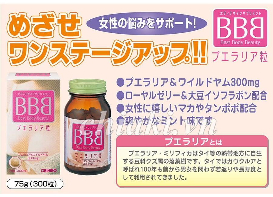 Viên uống nở ngực bbb orihiro (best body beauty) của Nhật