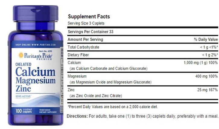 Puritan's Pride Calcium Magnesium Zinc chứa các khoáng chất cần thiết cho sự phát triển của xương khớp