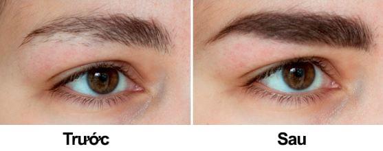 Trước và sau khi sử dụng thuốc mọc lông mày Kaminomoto