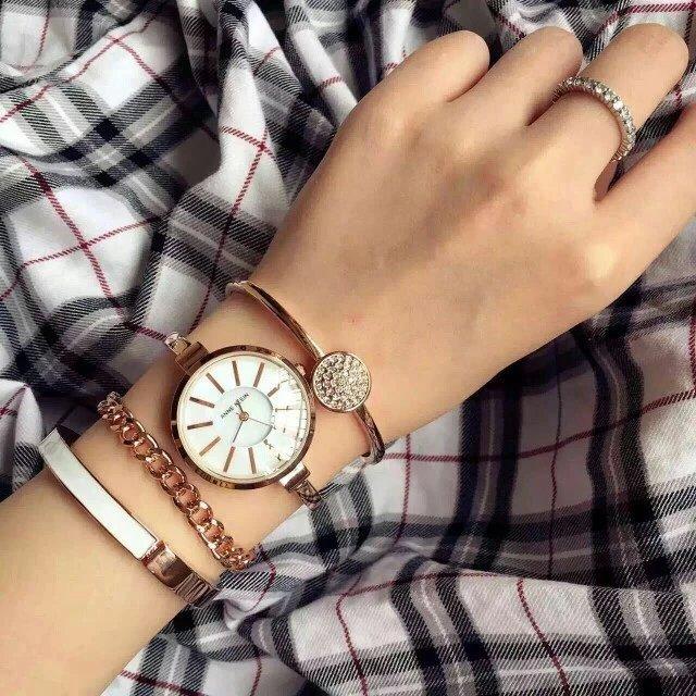 Đồng hồ Anne Klein AK/1470RGST cho nữ kèm 3 lắc tay