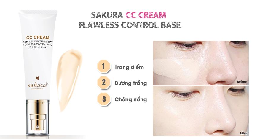 Sakura CC Cream còn giúp làm trắng da, se khít lỗ chân lông, phục hồi da hư tổn