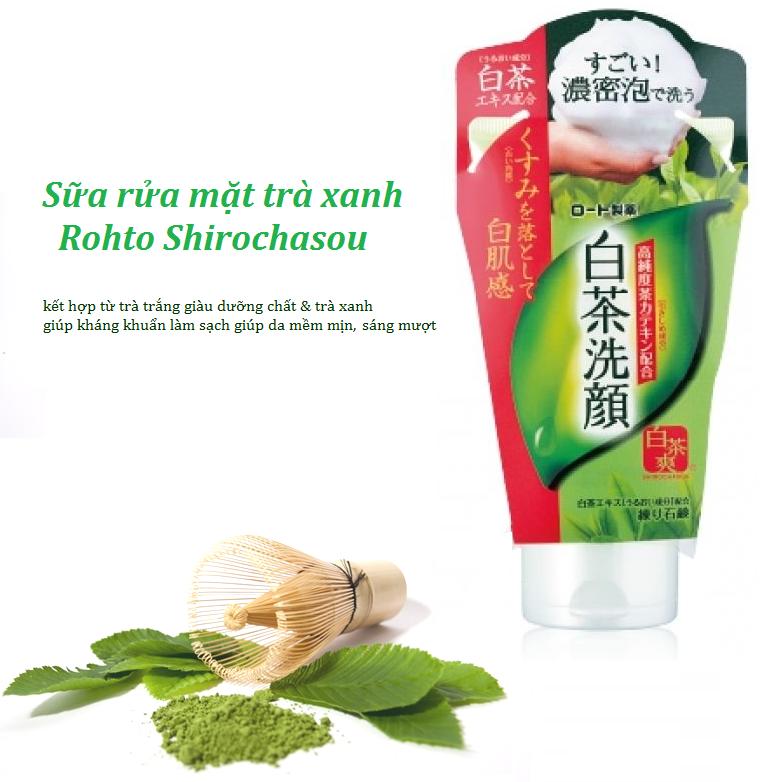 Sữa rửa mặt trà xanh Rohto Shirochasou Green Tea chiết xuất từ trà xanh nguyên chất
