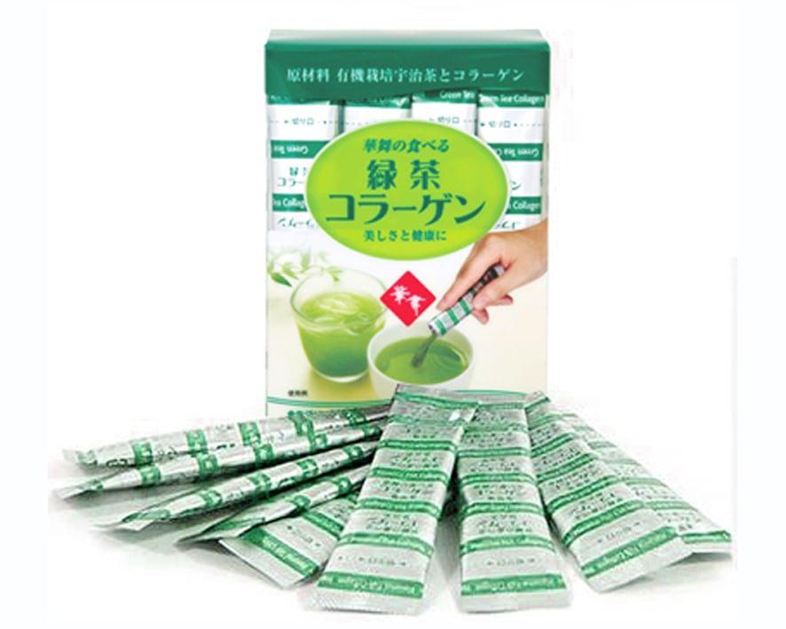 Collagen Hanamai chứa các thành phần thiên nhiên được chiết xuất từ lá trà xanh và collagen chiết xuất từ da lợn