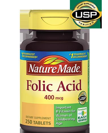 Viên uống bổ sung Acid Folic 400mcg Nature Made 250 viên