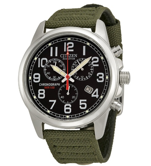 Đồng hồ Citizen Eco Drive dây dù xanh quân đội 40mm AT0200-05E 1