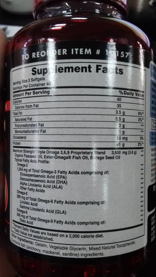 Thành phần của Omega 3 6 9 Fish, Flax & Borage Oils Puritan's Pride