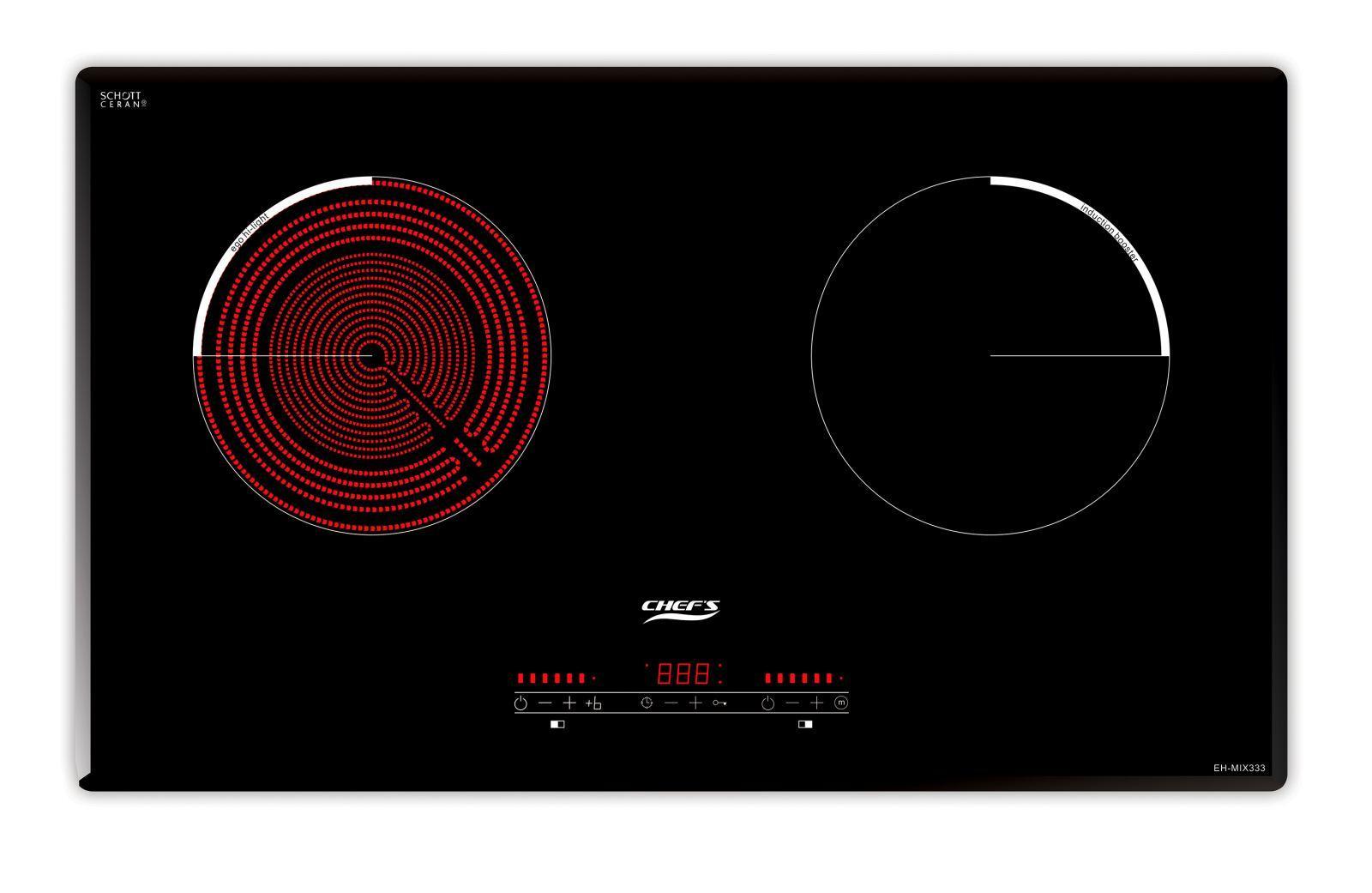 Bếp điện từ Chefs EH-MIX333 gồm 2 vùng nấu: 1 điện, 1 từ