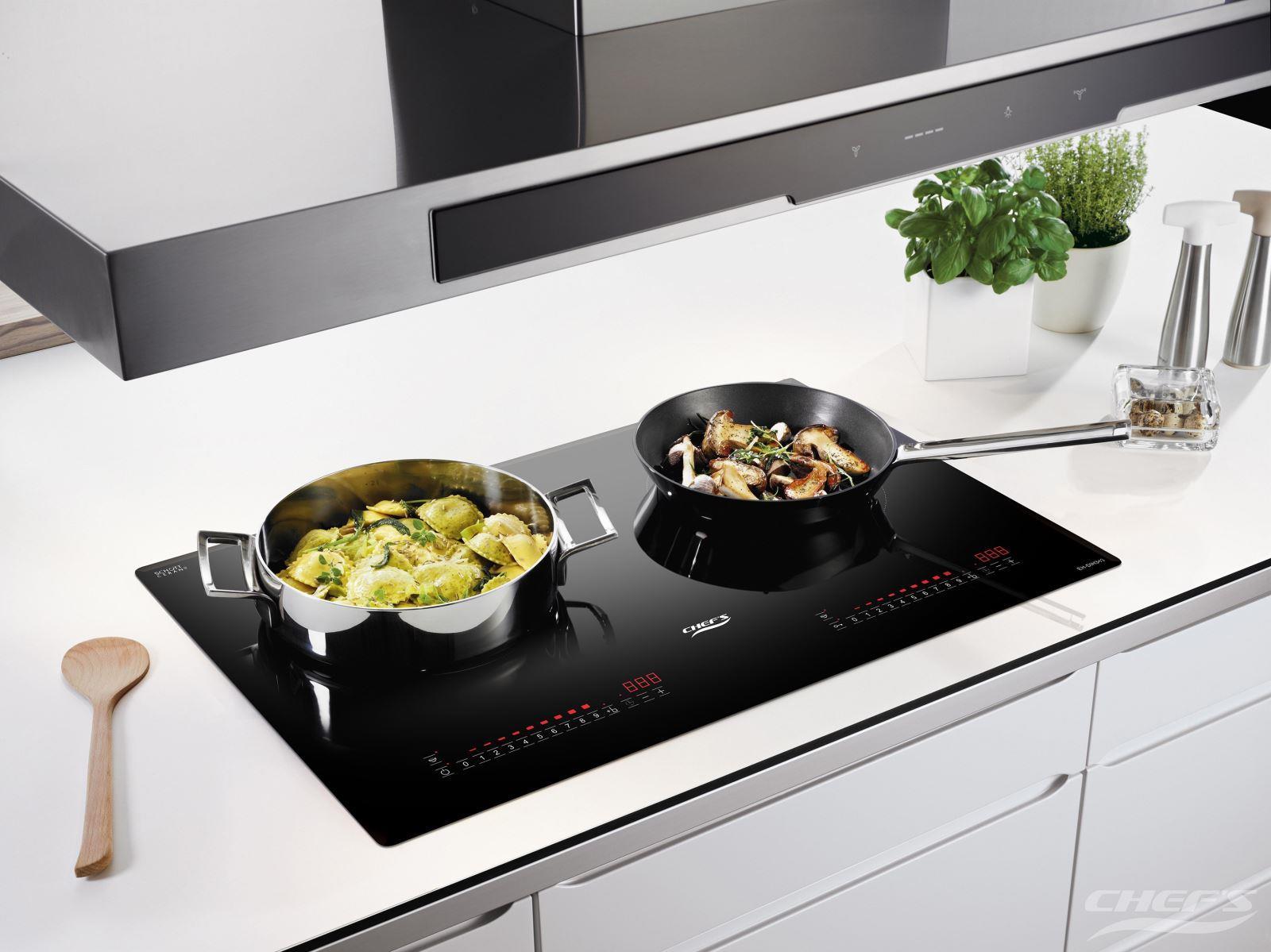 Bếp từ Chefs EH-DIH343 thiết kế riêng biệt 2 vùng nấu, công suất cực đại lên tới 3000W