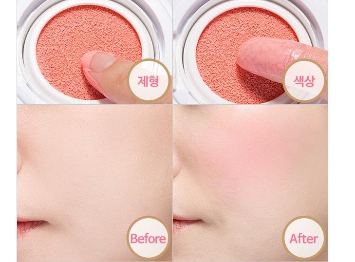 The Face Shop water cushion blusher tạo hiệu ứng ửng hồng đều màu cho đôi gò má, mang lại một gương mặt rạng rỡ và tươi trẻ