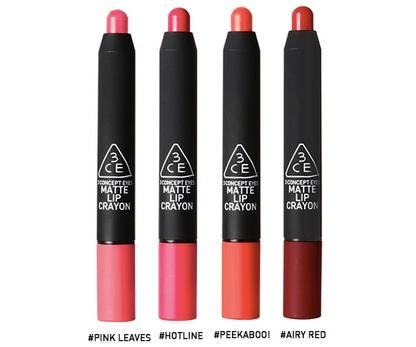 Son 3CE Matte Lip Crayon thiết kế dạng bút vặn vô cùng tiện dụng