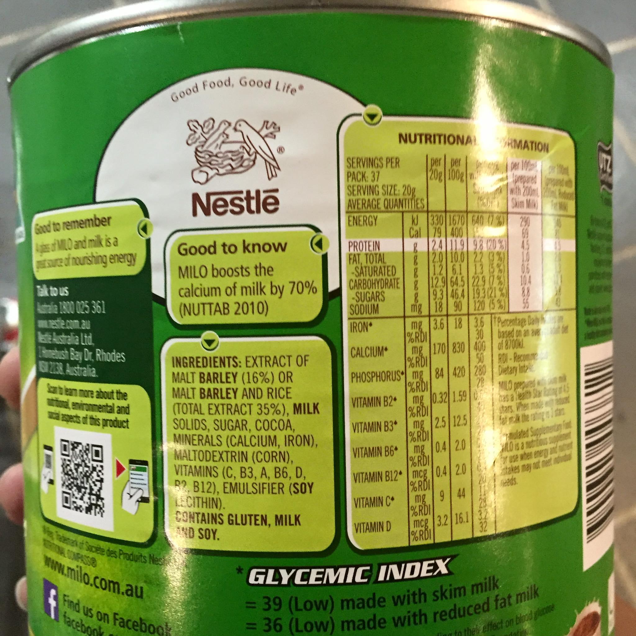 Thành phần sữa Milo Úc