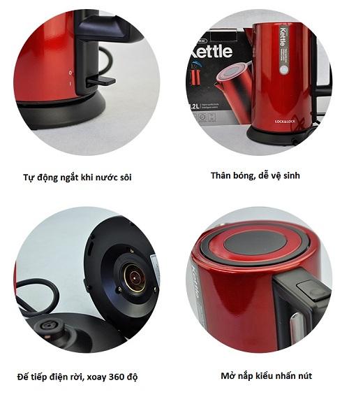Ấm sẽ tự động ngắt điện khi nước sôi hay cạn nước, đảm bảo an toàn cho người sử dụng.