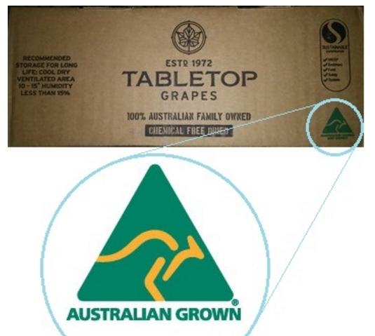 Thùng Nho khô nguyên cành TABLETOP – Úc với Logo Australian Grown màu xanh