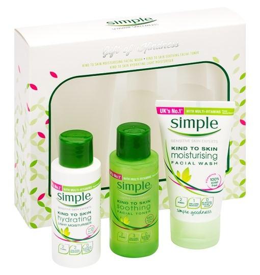 Sét dưỡng da Simple Gift Of Kindness mini gồm 3 món mini size là sữa rửa mặt, nước hoa hồng và kem dưỡng
