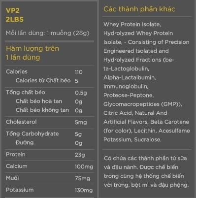 Thành phần VP2 whey protein
