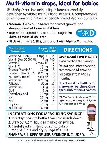 Vitamin Tổng Hợp Dạng Giọt Cho Bé Từ 4-12 Tháng Wellbaby Drops