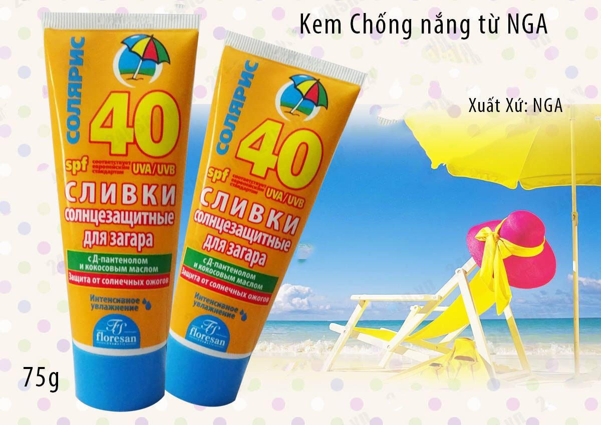 Kem chống nắng của Nga Floresan Soliaris Spf40 bảo vệ đáng tin cậy làn da khỏi tác hại từ tia UV