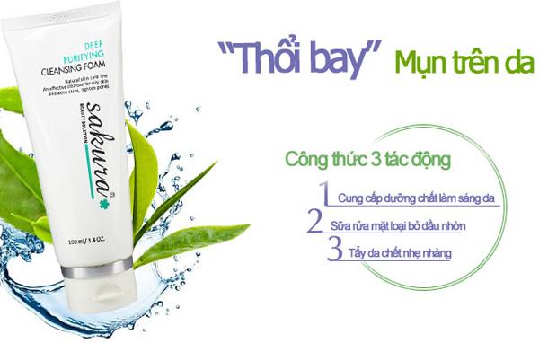Sữa rửa mặt trị mụn Sakura Deep Purifying Cleansing Foam có khả năng tạo bọt nhẹ rất thích hợp với da nhờn mụn