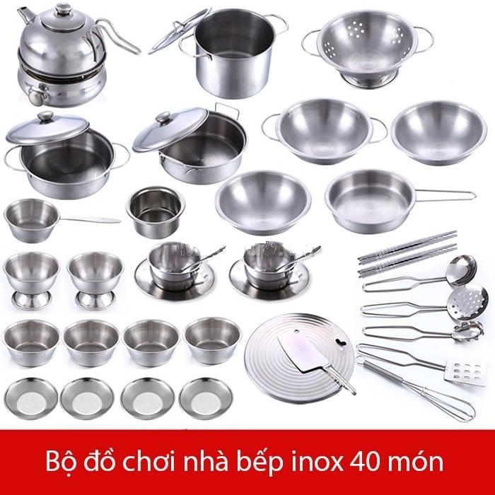 Bộ đồ chơi nấu ăn inox gồm 40 món dụng cụ nhà bếp quen thuộc