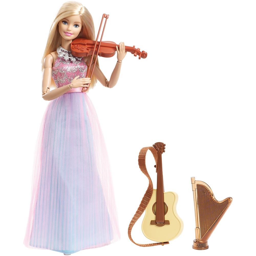 Búp bê Barbie xinh đẹp với mái tóc vàng óng ả, chiếc váy dài thướt tha, sang trọng