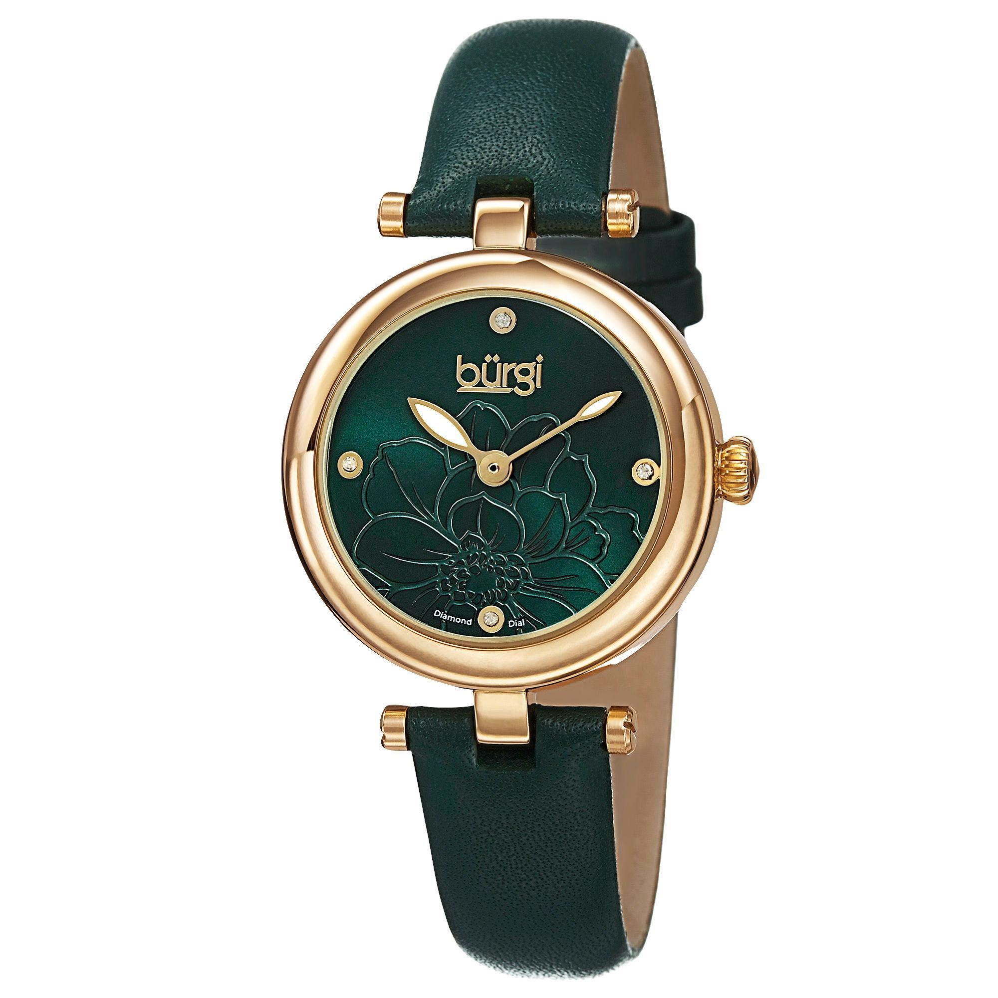 Đồng hồ Burgi BUR128GN dây da thanh lịch cho nữ 1