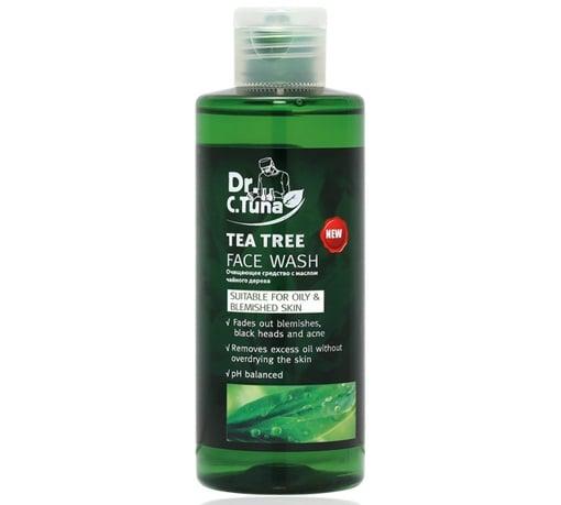 Gel rửa mặt trị mụn Dr C Tuna Tea Tree Face Wash nhẹ nhàng làm sạch da, loại bỏ dầu nhờn tích tụ và giảm các khiếm khuyết trên da